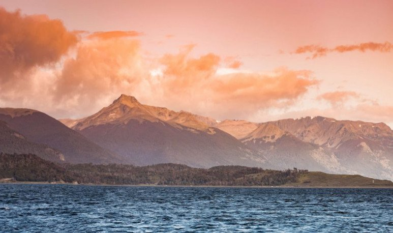 Beautiful landscape at sunset, Beagle Channel, Patagonia, summer time