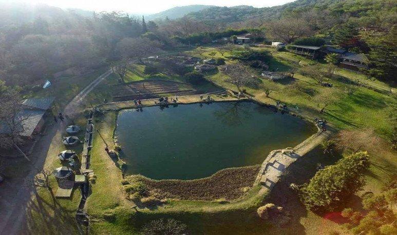vista aerea criadero de truchas en Río Ceballos